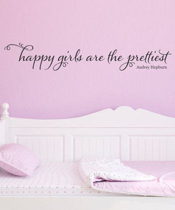 Black 'Happy Girls' Wall Quote