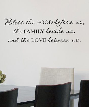 Black 'Bless the Food Before Us' Wall Quote