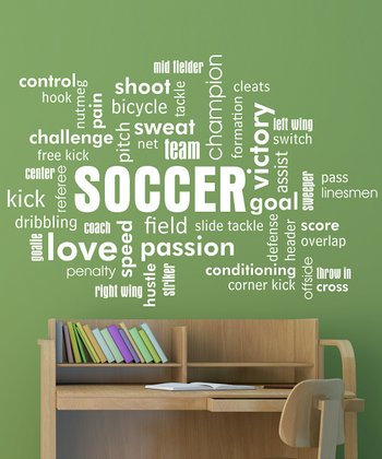 Belvedere Designs White Soccer Cloud Wall Quote