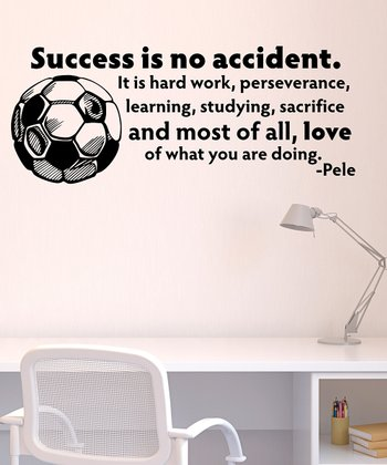 Black 'Success is No Accident' Wall Quote