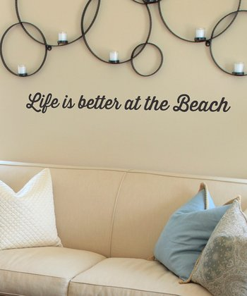 Black Retro 'Life is Better at the Beach' Wall Decal
