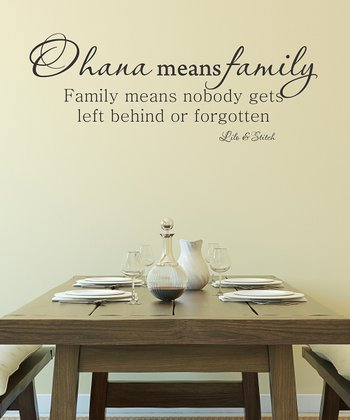 Black 'Ohana Means Family' Wall Decal