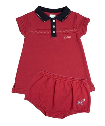Red Polo Dress & Diaper Cover - Infant
