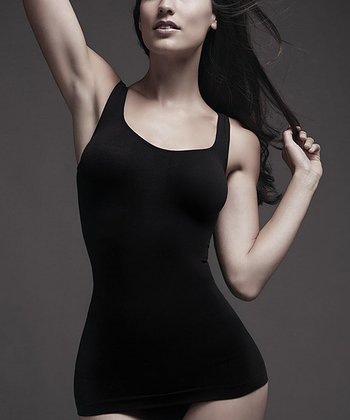 Black Seamless Tank-Tastic Long Shaper Tank - Women