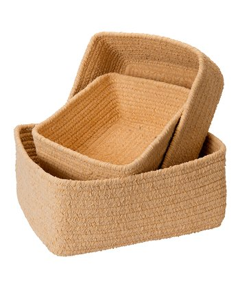 Pale Banana Chenille Nesting Basket Set