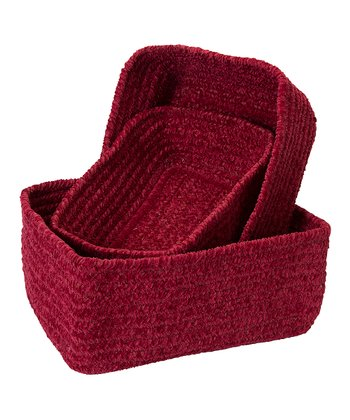 Red Chenille Nesting Basket Set