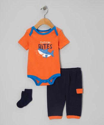 Orange 'Teething Bites' Bodysuit Set