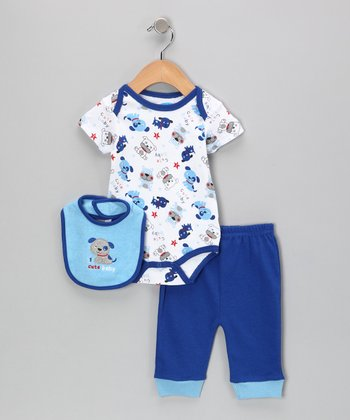 White & Royal '1 Cute Baby' Dog Bodysuit Set