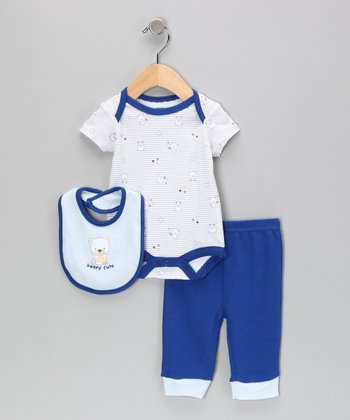 Gray & Royal 'Beary Cute' Bodysuit Set