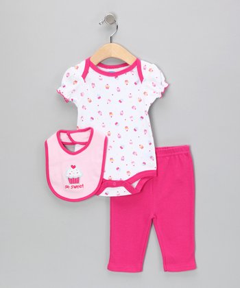 White & Fuchsia 'Sweet' Cupcake Bodysuit Set