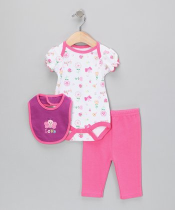 White & Fuchsia 'Love' Butterfly Bodysuit Set