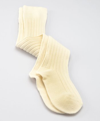 Cream Ribbed Over-the-Knee Socks