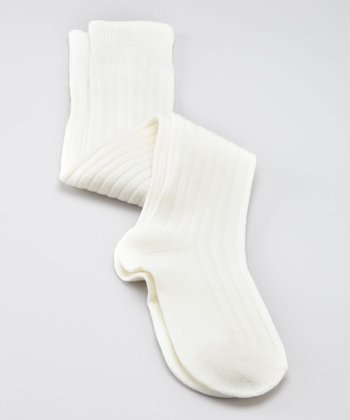 Ivory Ribbed Over-the-Knee Socks