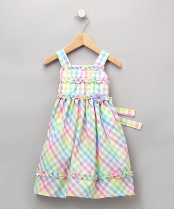Good Lad Girls - Pastel Plaid Dress 4T
