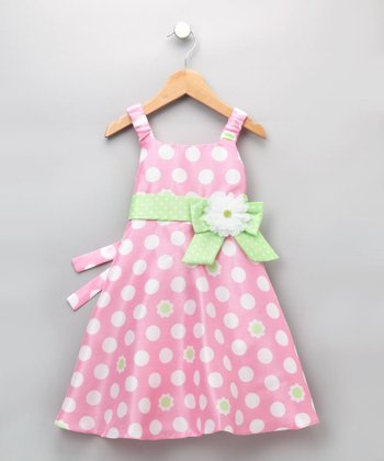 Good Lad Girls - Pink Daisy Polka Dot Dress 5