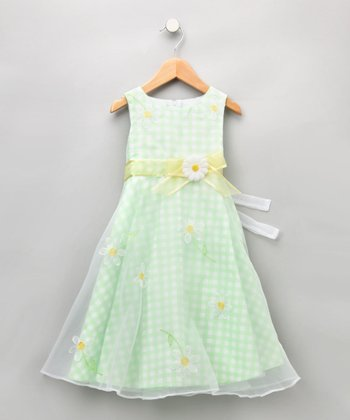 Lime Gingham Dress - Girls