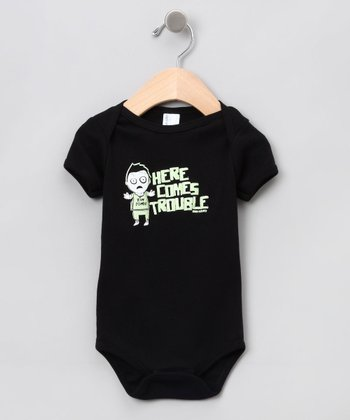 Black 'Here Comes Trouble' Zombie Bodysuit - Infant