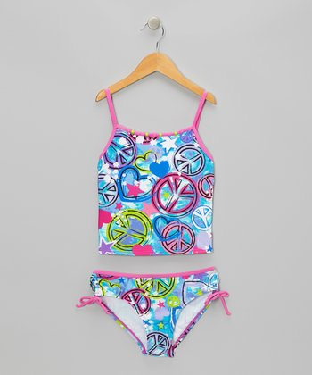 Teal Rock Star Tankini - Girls
