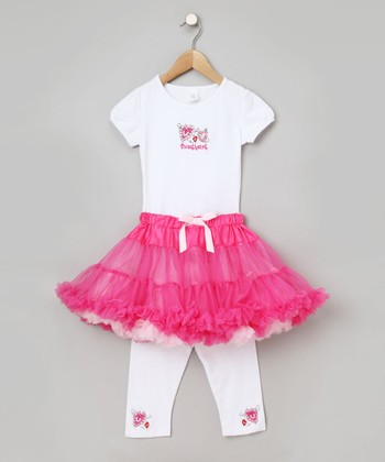 White & Fuchsia Sweetheart Tutu Set - Infant, Toddler & Girls