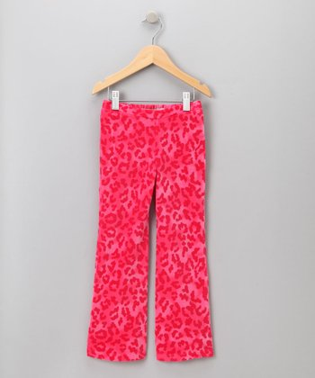 Big Citizen by Baby Nay - Pink Leopard Velour Pants 4Y