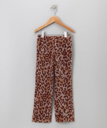 Big Citizen by Baby Nay - Brown Leopard Velour Pants 4Y