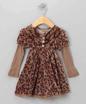 Big Citizen by Baby Nay - Brown Aurora Velour Dress 3T