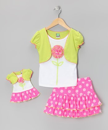 Pink Polka Dot Skirt Set & Doll Outfit - Toddler