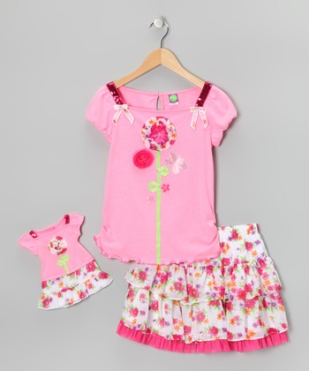 Pink Floral Skirt Set & Doll Outfit - Girls
