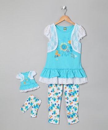 Turquoise Layered Tunic Set & Doll Outfit - Girls