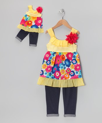Yellow Floral Tunic Set & Doll Outfit - Girls