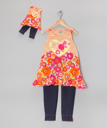 Pink & Orange Floral Tunic Set & Doll Outfit - Girls
