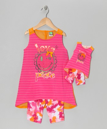 Pink Stripe Leggings Set & Doll Outift - Girls