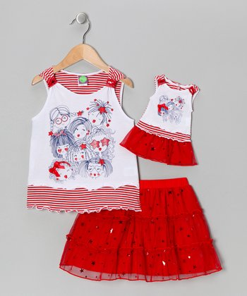 Red Skort Set & Doll Outfit - Girls