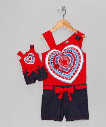 Red & Navy Heart Romper & Doll Outfit - Toddler & Girls