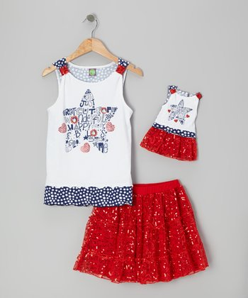 Red Sequin Skirt Set & Doll Outfit - Girls