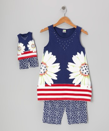 Navy Daisy Tunic Set & Doll Outfit - Girls