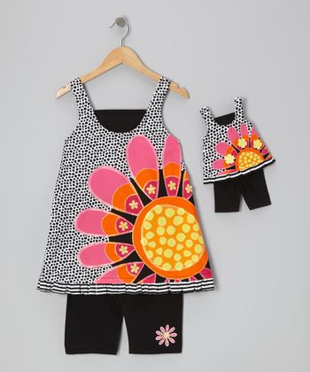 Black & Pink Tunic Set & Doll Outfit - Girls