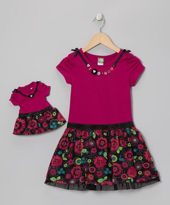Purple Bloom Dress & Doll Outfit - Girls