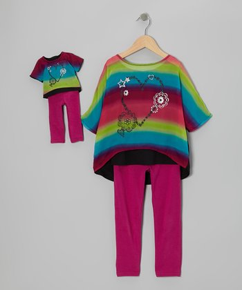 Purple Rainbow Tunic Set & Doll Outfit - Girls