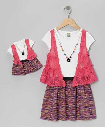 Fuchsia Flyaway Dress & Doll Outfit - Girls