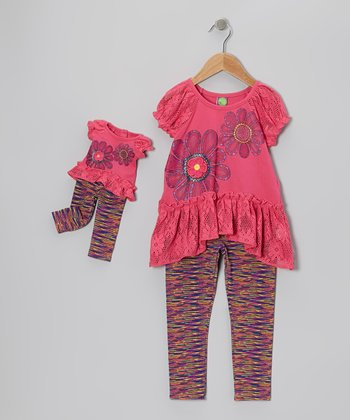 Hot Pink Daisy Tunic Set & Doll Outfit - Girls