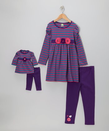 Purple Stripe Leggings Set & Doll Outfit - Girls