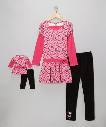 Pink & Black Floral Leggings Set & Doll Outfit - Girls