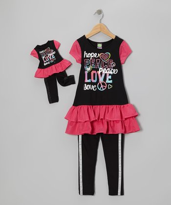 Black 'Love' Tunic Set & Doll Outfit - Girls
