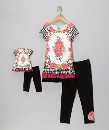 Black & Fuchsia Rose Tunic Set & Doll Outfit - Girls