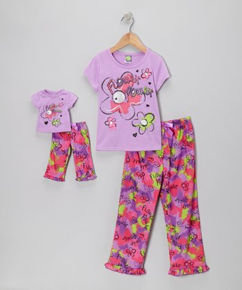 Purple Daisy Pajama Set & Doll Outfit - Girls