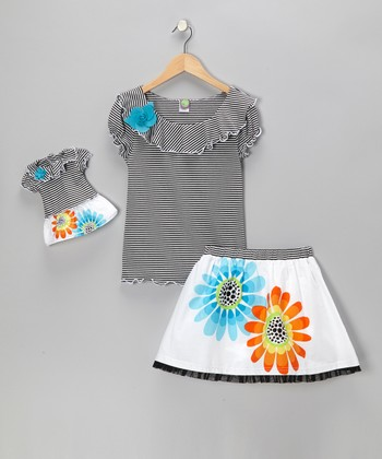 Black Daisy Stripe Skirt Set & Doll Outfit - Girls