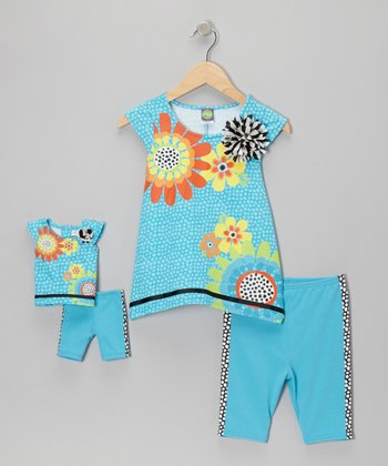 Turquoise Sidetail Top Set & Doll Outfit - Girls