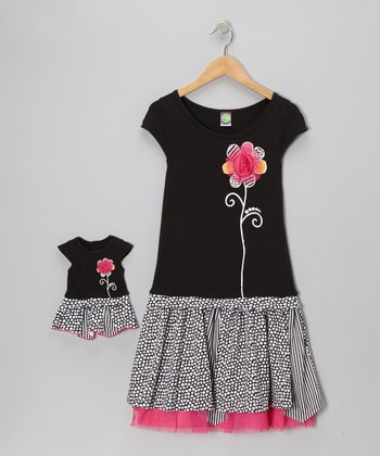 Black Polka Dot Daisy Dress & Doll Outfit - Girls