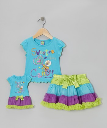 Blue 'Candy' Skirt Set & Doll Outfit - Girls